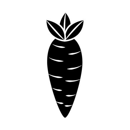 wortel plantaardige pictogram afbeelding vector illustratie ontwerp zwart en wit