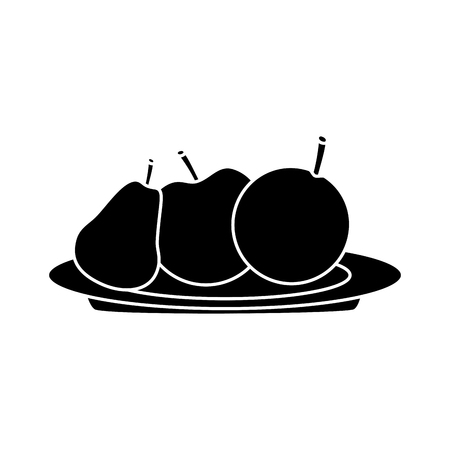 A pear apple orange on plate fruit icon image vector illustration design black and white