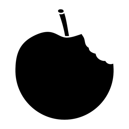 An apple bitten fruit icon image vector illustration design black and white Vectores