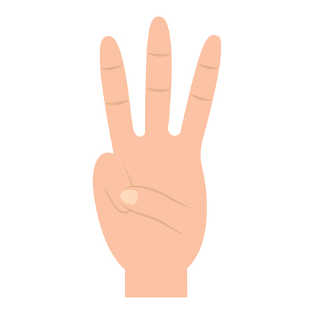 Three fingers up hand gesture icon image vector illustration design