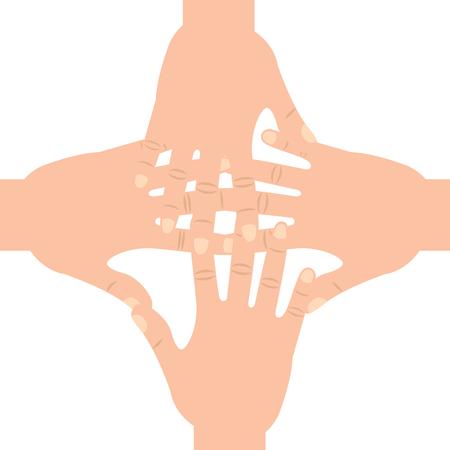 four hands together hand gesture icon image vector illustration design Illustration