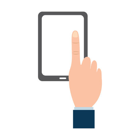 Tablet with hand icon image vector illustration design.