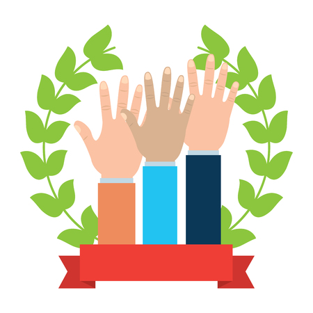 Three hands emblem hand gesture icon image vector illustration design. Illustration