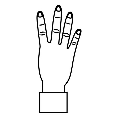 hand showing four count gesture vector illustration outline design Çizim