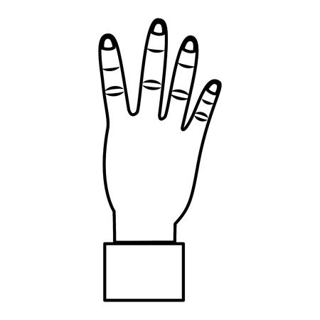 hand showing four count gesture vector illustration outline design Stok Fotoğraf - 93478350