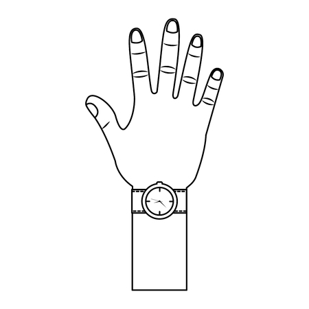 opened hand palm counting fingers number five vector illustration outline design