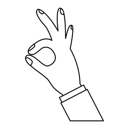 인간의 손에 확인 손가락 기호 벡터 그림 개요 디자인을 게재