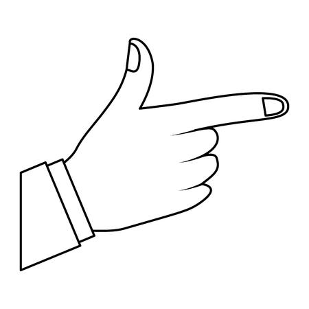 나타내는 또는 손가락 벡터 일러스트 개요 디자인을 가리키는 의해 방향을 보여주는 손