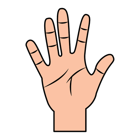Opened hand palm counting fingers number five vector illustration Ilustração