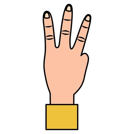Mano che mostra tre dita gesto illustrazione vettoriale Archivio Fotografico - 93447025