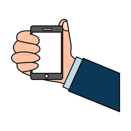 스마일폰 장치 기술 벡터 일러스트 레이션을 들고 인간의 손