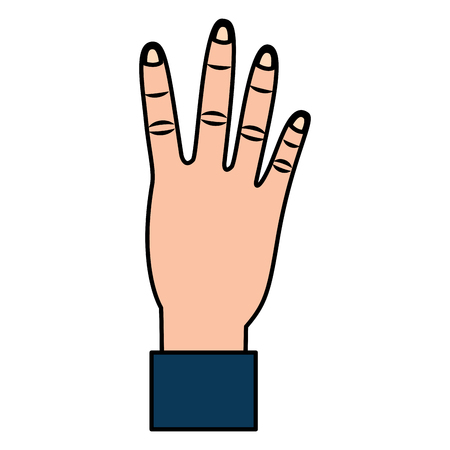 hand showing four count gesture vector illustration Çizim