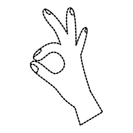 human hand showing ok fingers symbol vector illustration sticker design