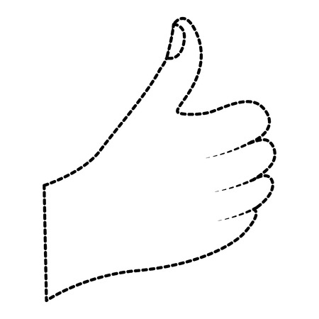 hand thumb up like  finger gesture vector illustration sticker design Çizim