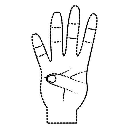 hand showing four count gesture vector illustration sticker design