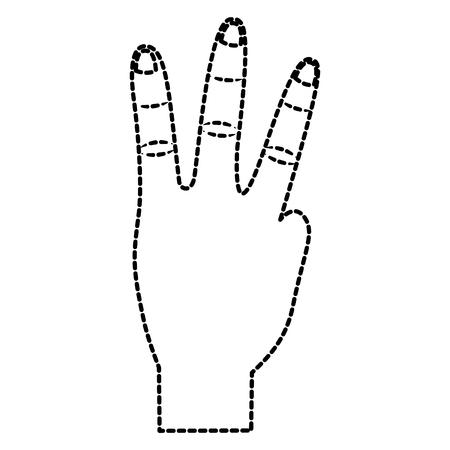 hand showing three fingers gesture vector illustration sticker design