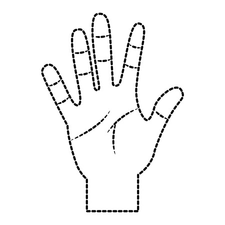 opened hand palm counting fingers number five vector illustration sticker design