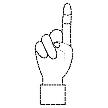 Hand show forefinger finger pointing first vector illustration sticker design