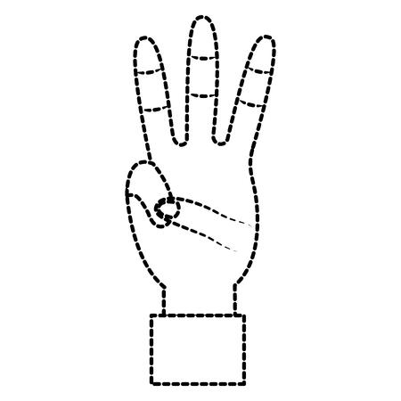 Una mano che mostra progettazione dell'autoadesivo dell'illustrazione di vettore di gesto di tre dita Archivio Fotografico - 93456806
