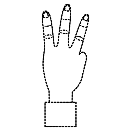 A hand showing three fingers gesture vector illustration sticker design Illustration