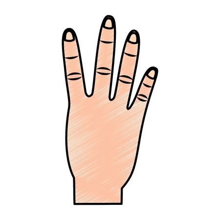 A four fingers up hand gesture icon image vector illustration design