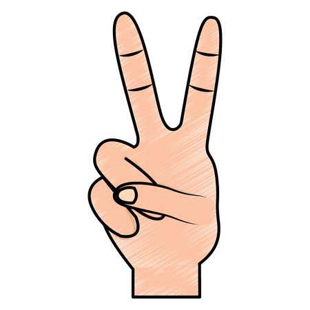 two fingers up peace hand gesture icon image vector illustration design  Stock Illustratie