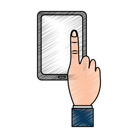 tablet with hand icon image vector illustration design