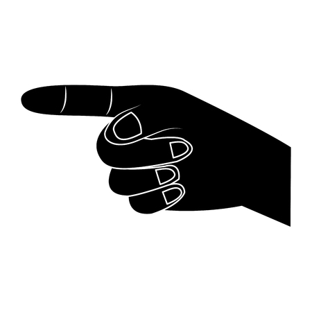 index finger pointing hand gesture icon image vector illustration design  black and white