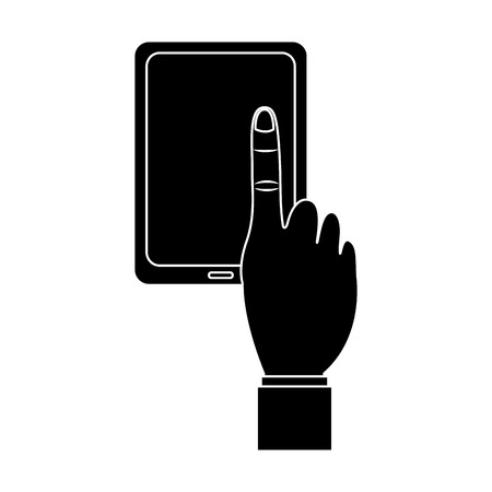手のアイコン画像を持つタブレット。●ベクトルイラストデザインは白黒。  イラスト・ベクター素材
