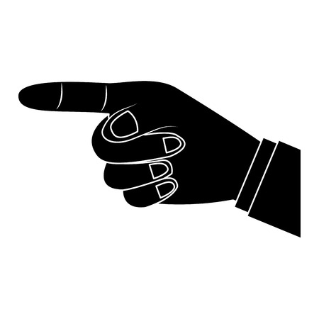 Index finger pointing hand gesture icon image. Vector illustration design black and white.