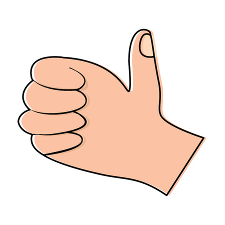 Thumb up hand gesture icon image. Vector illustration design.