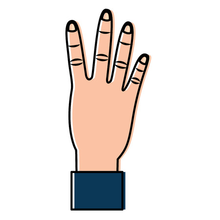 Hand showing four count gesture. Vector illustration design.