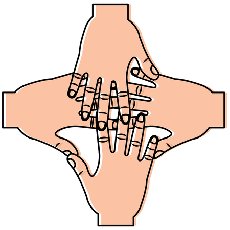 Four human hands teamwork unity. Vector illustration sticker design.