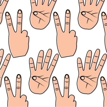 Hands showing different numbers counting pattern vector illustration