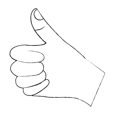 Hand thumb up like finger gesture. Vector illustration design.