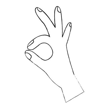 인간의 손에 확인 손가락 기호를 표시합니다. 벡터 일러스트 레이 션 디자인. 일러스트