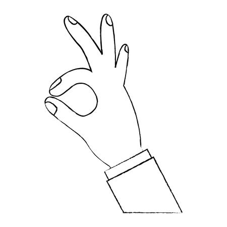 확인 손가락 기호 벡터 일러스트 디자인을 보여주는 인간의 손에