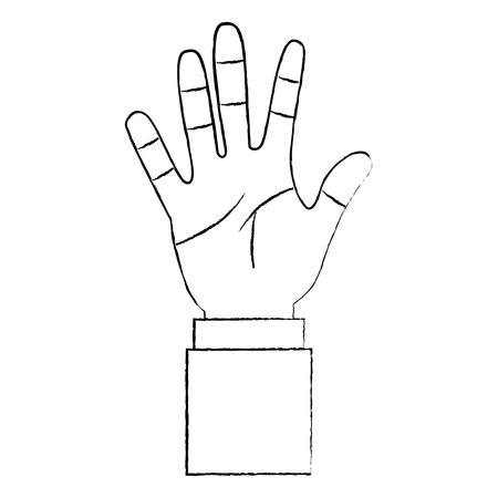 開いた手のひらカウント指数5ベクトルイラスト  イラスト・ベクター素材