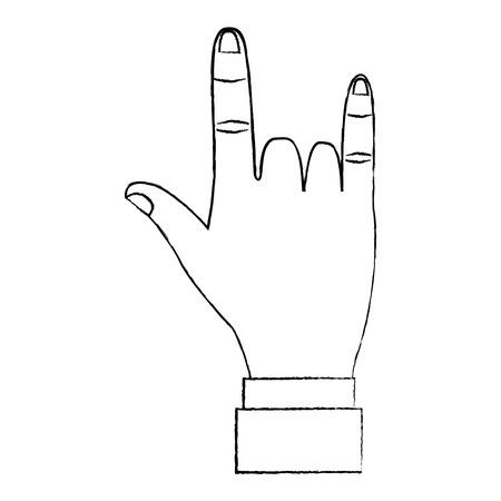 hand in rock n roll sign gesture vector illustration  design