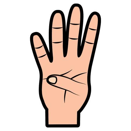 Hand met vier tellen gebaar vector illustratie ontwerp Stockfoto - 93453497