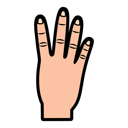hand showing four count gesture vector illustration  design Çizim