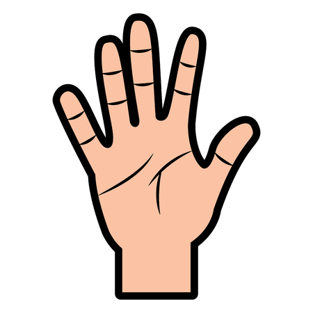 opened hand palm counting fingers number five vector illustration Illustration