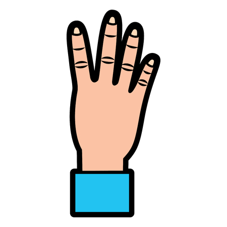 hand showing four count gesture vector illustration  design Illustration