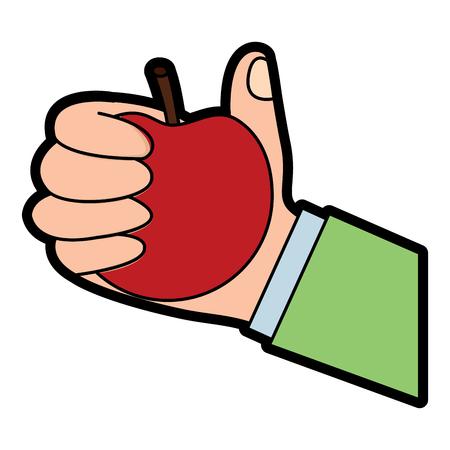 hand of a man holding apple fruit vector illustration  design Illustration