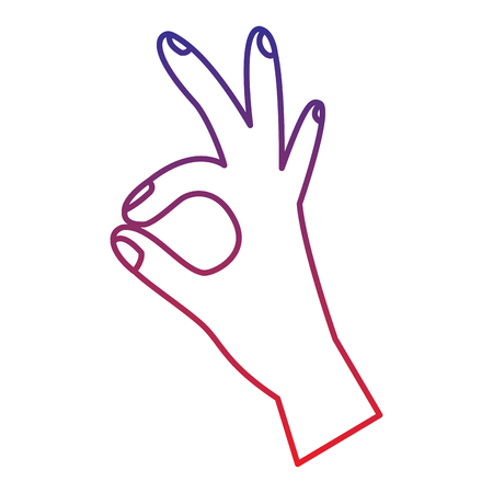 three fingers up ok hand gesture icon image vector illustration design