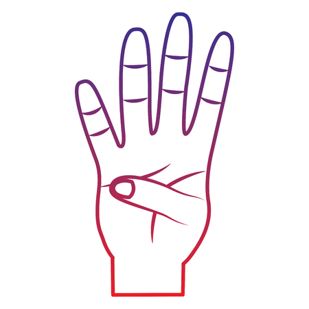 Four fingers up hand gesture icon image vector illustration design
