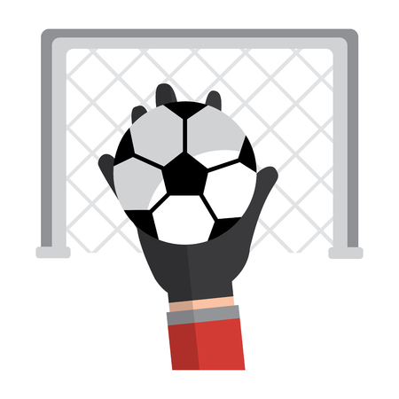 hands with ball with goal in the background football soccer icon image vector illustration design