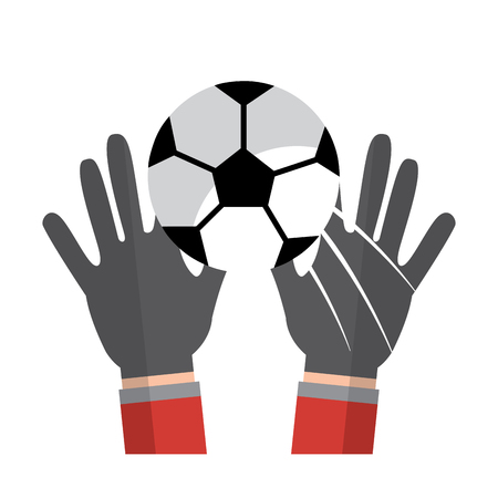 hands with ball football soccer icon image vector illustration design
