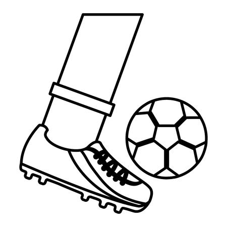 foot kicking ball football soccer icon image vector illustration design   イラスト・ベクター素材
