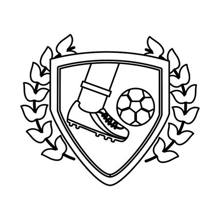 foot kicking ball football soccer emblem image vector illustration design